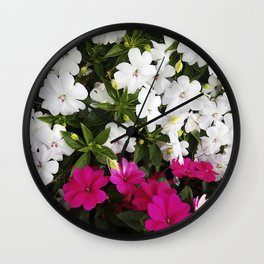 Patient Impatiens - Deep Pink and Sparkling White Wall Clock