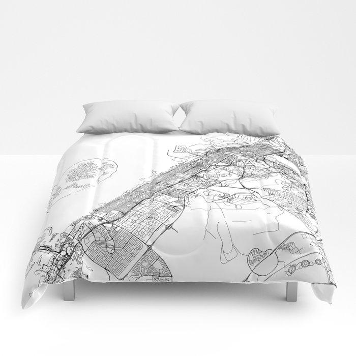 Dubai White Map Comforters