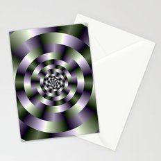 Concentric Circles in Green and Purple Stationery Cards