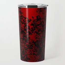 Red and black abstract decorative floral arabesque motif with metallic look Travel Mug