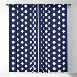 Navy Blue Polka Dots Minimal Blackout Curtain