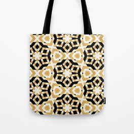 Gold Foil Art Deco Star Pattern Tote Bag