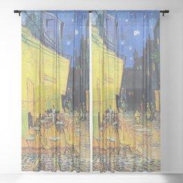Café Terrace at Night by Vincent van Gogh Sheer Curtain