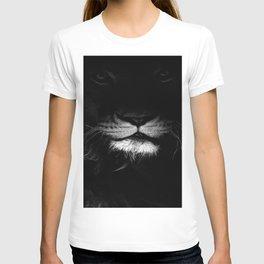 lion, black and white T-shirt
