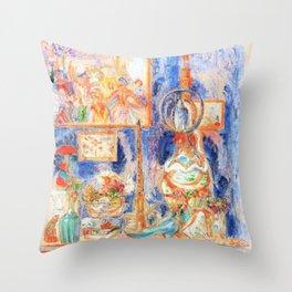 12,000pixel-500dpi - A good place at home - James Sidney Edouard Baron Ensor Throw Pillow