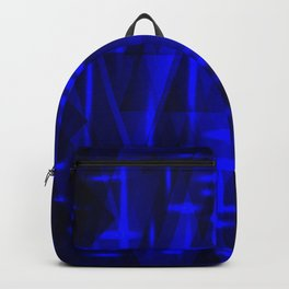 Bright dark blue highlights on marine triangles and metal stripes. Backpack