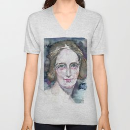 MARY SHELLEY - watercolor portrait Unisex V-Neck