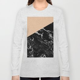 Modern elegant peach black marble color block Long Sleeve T-shirt