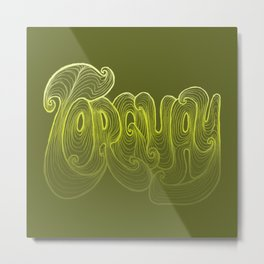 Torquay Typography - Lime Punch Metal Print