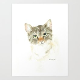 catitude - brown tabby cat Art Print