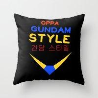gundam Throw Pillows featuring Gundam Style by Joynisha Sumpter