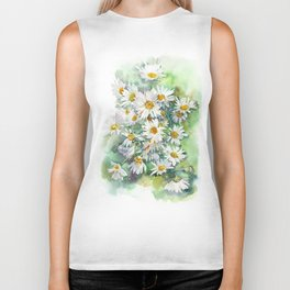 Watercolor chamomile white flowers Biker Tank