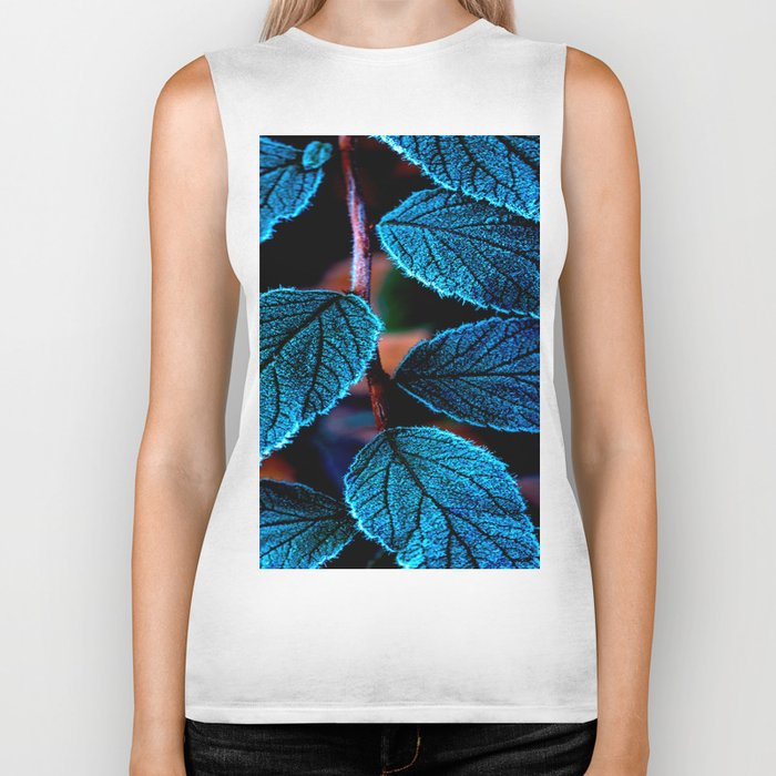 Peacock Blue Leaves Nature Background #decor #society6 #buyart Biker Tank