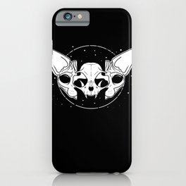 Sphynx Cat and Its Skull - dark art - black and white iPhone Case