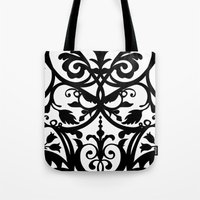 wall clock Tote Bags featuring Folk Art wall clock by Laura Barrett