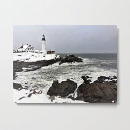 Blizzard at Portland Head Light in Cape Elizabeth, Maine Metal Print