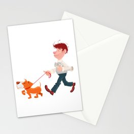 A man walking with his dog Stationery Cards