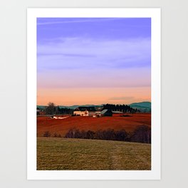 Countryside panorama in beautiful sunset colors | landscape photography Art Print