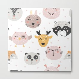 Woodland Critters Pattern Metal Print