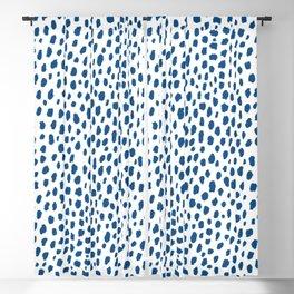 Handmade Polka Dot Paint Brush Pattern (Pantone Classic Blue and White) Blackout Curtain
