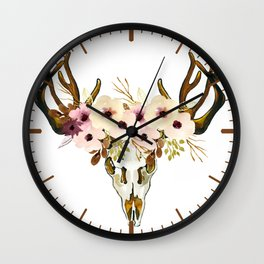 Exotic Tropical Floral Leaves Skull Antlers Wall Clock