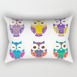 bright colorful owls on white background Rectangular Pillow