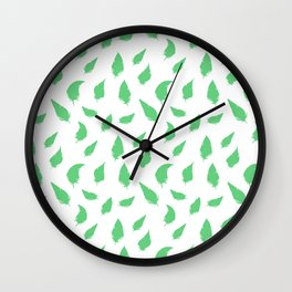 Feather pattern Green Wall Clock