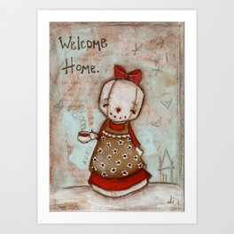 Welcome Home - Snow lady welcomes you with tea Art Print