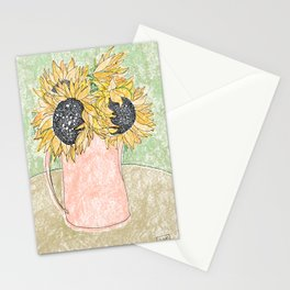 Fall Sunflower Bouquet in Pitcher Offset Stationery Cards