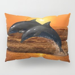 Dolphins at sunset Pillow Sham
