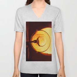 Glass blowing with a hot Glory Hole Unisex V-Neck