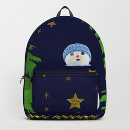 Sparkly gold stars, snowman and green tree Backpack