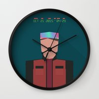 marty mcfly Wall Clocks featuring Marty McFly 2015 by Miguel R. Díaz