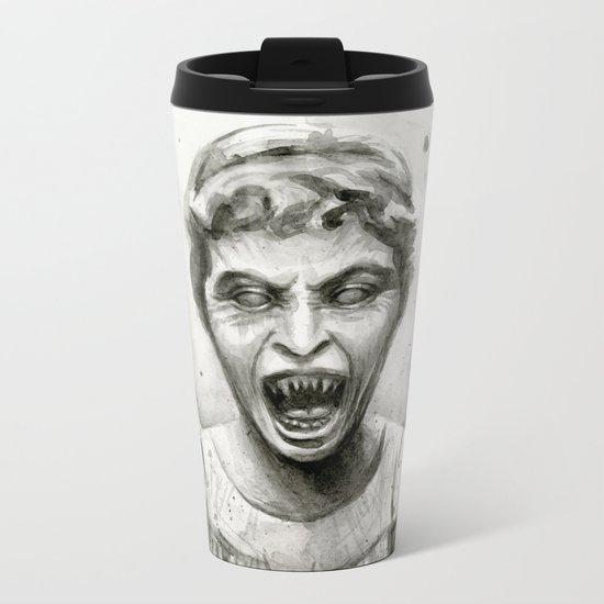 Weeping Angel Watercolor Doctor Who Art Metal Travel Mug