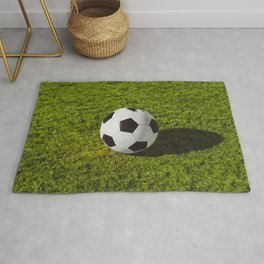 football in Station on green grass - Illustration Rug