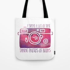 I Spend a Lot of Time Taking Photos of Books - Purple Tote Bag