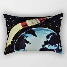 Vintage 1963 Rocket Bottle & Planet Bitter Campari Advertisement Rectangular Pillow