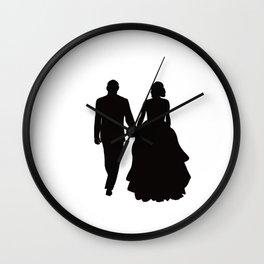Wedding Couple Silhouette Design For Weddings Wall Clock