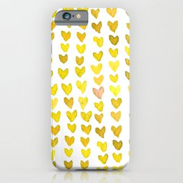 Brush stroke hearts - yellow iPhone Case