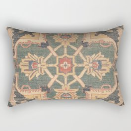 Geometric Leaves VI // 18th Century Distressed Red Blue Green Colorful Ornate Accent Rug Pattern Rectangular Pillow