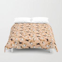 beagle scatter peach Duvet Cover