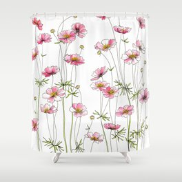 Pink Cosmos Flowers Shower Curtain