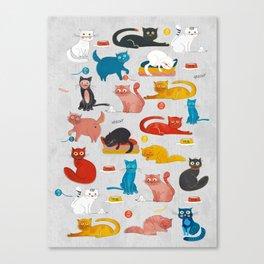 Playful Cats - illustration Canvas Print