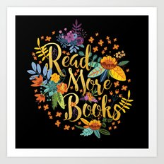 Read More Books - Black Floral Gold Art Print
