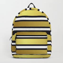 Luxe Gold Metallic and Black Stripes Pattern Backpack