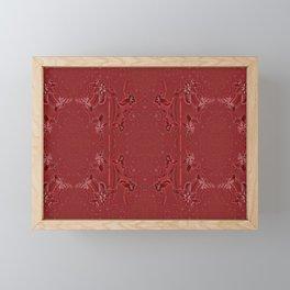 Rosewood Embossed Floral Tapestry (Scandinavian Exterior Red) Framed Mini Art Print