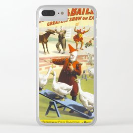 Vintage Circus Poster with Clowns and Animals Clear iPhone Case