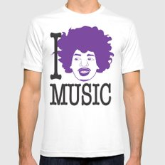 I __ Music Mens Fitted Tee White MEDIUM