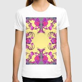 Modern  Orchids Gold Color Fantasy Scrolls & Flowers Ferns Art T-shirt