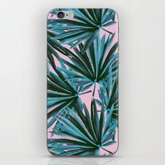 Tropical Palm Leaves in Botanical Green + Pink iPhone & iPod Skin